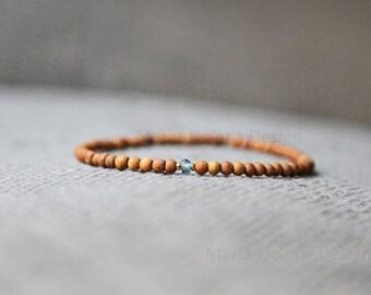 topaz sand mens bracelet - mens wood and gem bracelet smoky blue with sand - mens small bead bracelet wood with smoky blue gem - slim simple