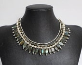 Glamorous in Grey - three strand necklace made with labradorite stones, silver coated brass beads and closed with a silver clasp