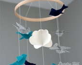 100% Merino Wool Felt Birds Mobile - Eco-Friendly - Rich, Lightfast Colors - Heirloom Quality - Teal, Navy and Gray Birds