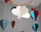 100% Merino Wool Felt Balloon Mobile - Eco-Friendly - Rich, Lightfast Colors - Heirloom Quality - Teal, Red and Gray Hot-Air Balloons