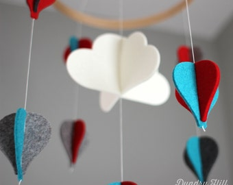 Hot Air Balloon Mobile - 100% Merino Wool - Eco-Friendly - Lightfast Colors - Heirloom Quality - Teal, Red and Gray Hot-Air Baby Mobile