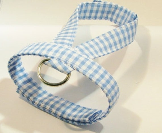 Small dog harness, velcro close Blue gingham1