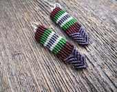 Handmade Micro Macrame Earrings in Purple, Green, White & Maroon with Sterling Silver Hoops
