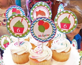 Cupcake and Balloon Small Party Circle Cupcake Toppers - Chevron and Polka Dot - Childrens Museum Collection
