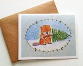 Beaver Tasty Christmas Card by Megumi Lemons