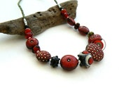 Handmade Black and Red Ceramic and Lampwork Necklace,Dotty Bead necklace,OOAK
