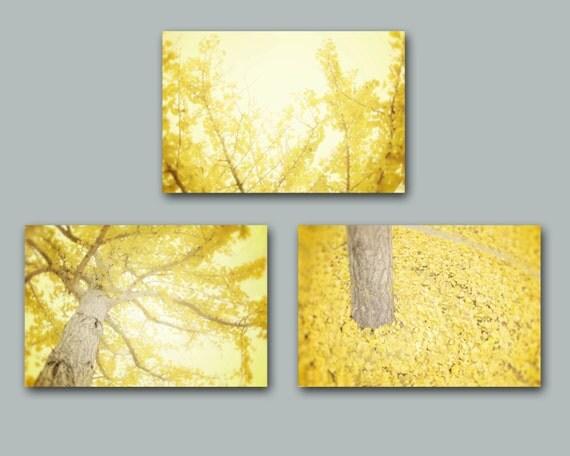 items similar to yellow wall art set of three yellow tree. Black Bedroom Furniture Sets. Home Design Ideas
