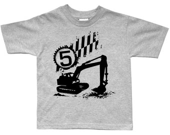 Excavator Birthday Shirt - any age and name - Construction Party