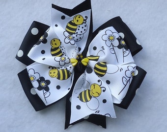 Basic Hair Bow, Bumble Bee Hair Bow, Yellow/Black Hair Bow, Large Boutique Bow, Large Pinwheel Bow, Boutique Hair Bow, Large Hair Bow