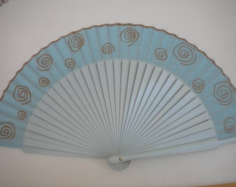 MTO Folding Hand Fan Wooden Hand Painted Pale Blue with Bronze Swirls by Kate Dengra Spain