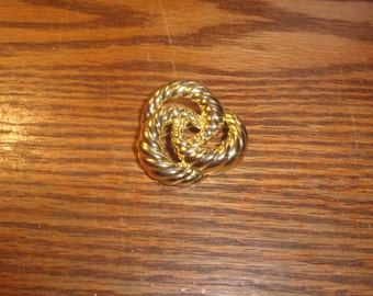 vintage pin brooch goldtone braided knot