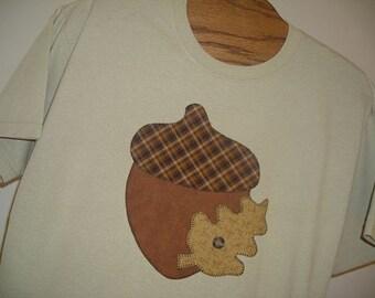 Applique Acorn T-Shirt ,Light Brown, Springtime, Easter, Tan ,Sizes S-5X, Nature, Acorn, Leaf, Gift Idea