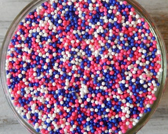 Sprinkles, 6 oz - Princess Non Pareils Mix (pink, purple, white) - For Cupcakes - Cookies - Cake Pops - Ice Cream - Dipped Pretzels - Cakes