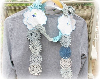 Romantic Boho Scarf Blue Shabby Chic. Ombre Skinny Doily Vintage Accessories Clothing Crochet White Floral Flowers Sky Pastel Domum Vindemia