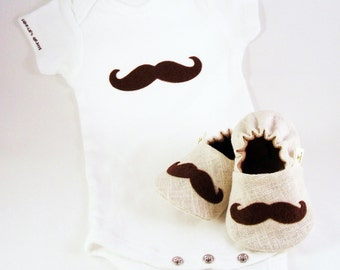 Mustache Baby Booties AND Mustache Onesie, from 0 - 18 Months
