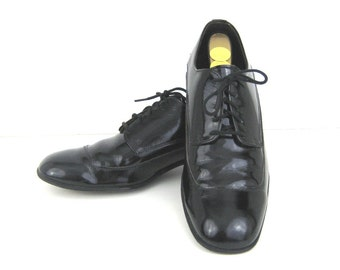 1960s Mens Shoes Black Patent Shoes Patent Leather Shoes 60s Tuxedo Shoes Dress  Mens Dress Shoes Black Patent Leather Shoes Formal Shoes