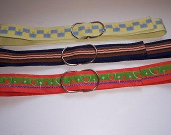 Belts- 100% Cotton Webbing=Set of 3