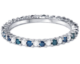 1/2CT Blue & White Diamond Eternity Wedding Anniversary Ring 14K White Gold Stackable Band Size (4-9)