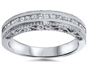 Princess Cut .51Ct Diamond Vintage Antique Style Filigree Ring Wedding Anniversary Channel Set 14K White Gold