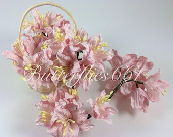 50 Pale Pink Lily Handmade Mulberry Paper Flowers Wedding Scrapbooking Flowers