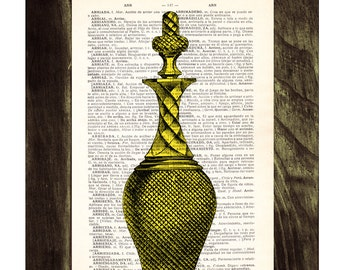 Dictionary page book art print Old Decanter Bottle in Yellow- Upcycled gift TVH060