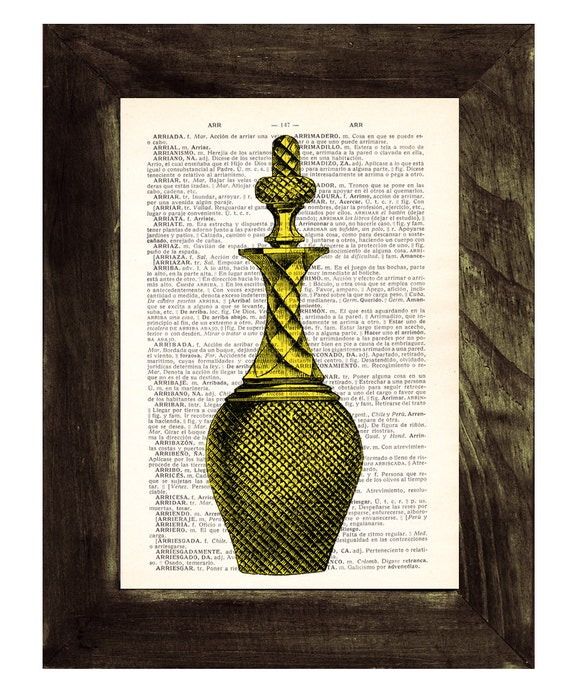 Dictionary page book art print Old Decanter Bottle in Yellow- Upcycled gift BPTV060