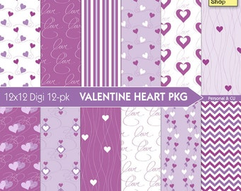 Hearts and Love - Valentine Digital Paper Pack - Purple - INSTANT DOWNLOAD - for Scrapbooking, Cards, Crafts, Decoupage, Journaling, Collage