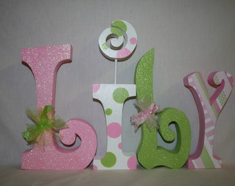 Pink and green nursery letters, Custom wood letters, 4 letter set, Freestanding letters, Pink and green nursery decor, Hanging letters