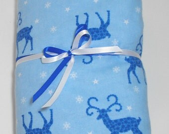 Flannel Fitted Sheet Reindeer Bedding  Baby Crib or Toddler Bed