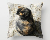Cat Pillow Tortoise Shell Cat Pillow Photo Throw Pillow Cover Nature Photo Pillow Cover Feral Cat Pillow Sandy Beach Pillow Seashore