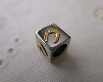 18K and stainless steel bead - cube, silver, gold, horseshoe, luck