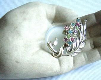 Vintage Brooch Rainbow Rhinestone Bouquet Leaf Pin Circa 1950s