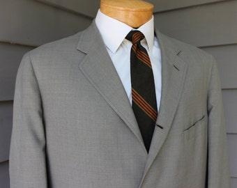 vintage 1950's -Brooks Brothers- Men's summer weight sport coat. Sage Cotton blend - 3/2 roll - Sack.  43 Regular