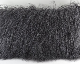 real genuine dark gray mongolian lamb fur pillow grey new made in usa authentic tibet fur