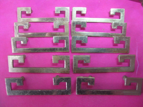 Lot of 10 vintage greek key drawer pulls 2 1 4 centers for Key drawer handles