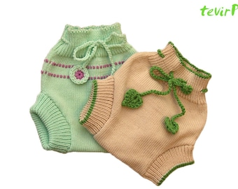 Soaker - S, M, L - BEST SUMMER DESIGNS 100% merino wool diaper nappy cover briefs hand made knit knitted