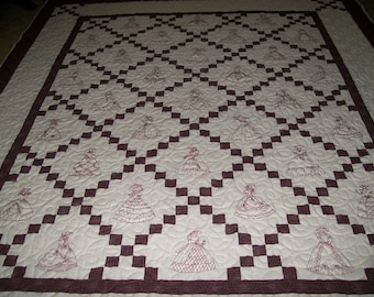 King Size Southern Belles Machine Embroidered Quilt in Off White and Burgundy