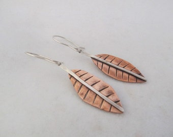 Leaves earrings - hand fabricated copper and sterling silver mixed metal, dangle earrings, autumn earrings, metalsmith earrings