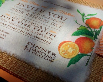 NEW! Vintage Botanical Oranges Wedding Invitation with Burlap