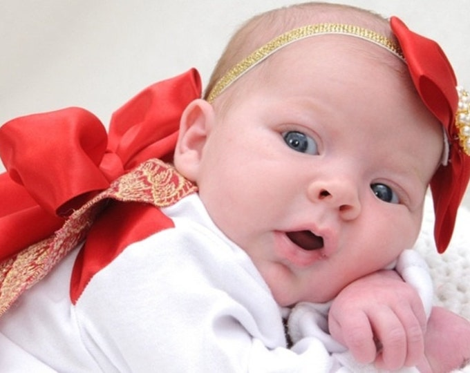 Baby Girls Red Bow Headband