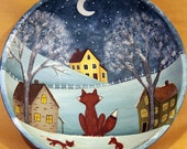 Winter Folk Art Wooden Bowl - MADE TO ORDER -Winter Christmas Scene with Red Fox Family Overlooking a Village of Saltbox Houses in Moonlight