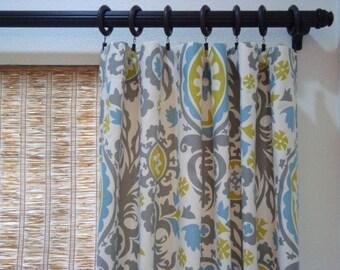 Suzani Custom Curtains Pinch Pleat Panels Summerland Grommet Curtains Tab Top Drapes 50x63 - 50x108