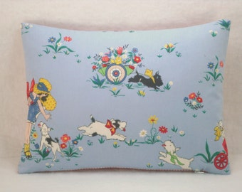 Blue Vintage Style Lumbar Pillow Girls Lumbar Pillow Red and White Check Lumbar 15x12 Cover Only
