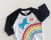 Rainbow Unicorn Shirt 3/4 length sleeve Raglan Baseball T girls