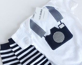 Tourist Baby Camera Onepiece Bodysuit and Striped Baby Leg Warmers, Black and White Photography