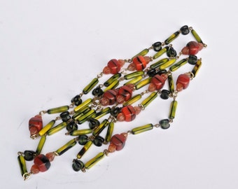 CZECH glass bead necklace. 52 inches. supplies. vintage. art glass beads No.002106