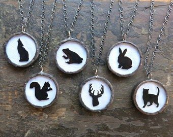 Woodland Animal Necklace Black Silhouette Pendant Cat Rabbit Squirrel Deer Lone Wolf or Frog Fall Gift