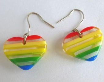 Rainbow Lucite Hearts Earrings Retro 1980s Jewelry Accessory Dangle Wire Hooks