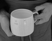 handmade large white XL coffee modern mug with hand drawn stripes ,Not All Those Who Wander are Lost {text} under 50