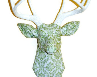 Deer Head Wall Mount - Green and Ivory Damask Fabric - Deer Faux Taxidermy - FAD0101